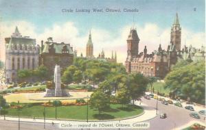 Ottawa Canada Circle Looking West Linen Postcard USED