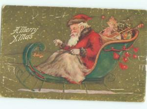 Pre-Linen Christmas SANTA CLAUS IN SLED HOLDING THE WHIP AB4638