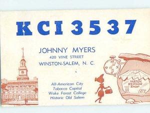 Pre-1980 RADIO CARD - CB HAM OR QSL Winston-Salem North Carolina NC AH2251