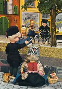 Dutch Toy Dolls Shopping On A Bicycle Holland 1980s Postcard