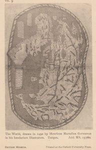 World Map in 1492 Insularium Illastrum Antique London Postcard