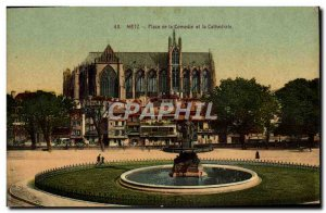 Old Postcard Metz Comedy Square and the Cathedral