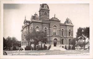 Fairbury Nebraska~Jefferson County Court House~Stores Behind~1940s Cars~RPPC
