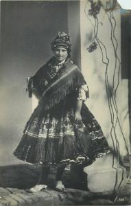 Sarkoz ethnic girl hungarian type folk costumes Hungary photo postcard