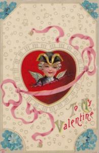 Valentine's Day With Red Heart and Cupid As George Washington 1911