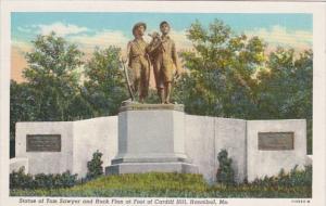 Missouri Hannibal Statue Of Tom Sawyer & Huck Finn At Foot Of Cardiff Hill 19...