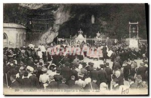 Old Postcard Lourdes Grotto before the Departure of Processsion