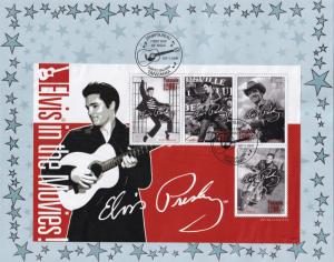 In The Movies Flaming Star Elvis Presley Rare Limited Stamp Block Sheet FDC