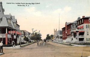 Ocean City New Jersey Central Avenue Showing High School Antique Postcard J68015