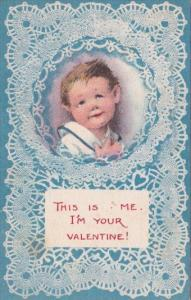 Valentine's Day Young Boy Blue Lace This Is Me Your Valentine