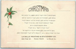 Chicago Advertising Postcard LA SALLE PRINTING & STATIONERY Christmas Cards Ad