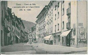 CARTOLINA d'Epoca AOSTA Città - CROIX DE VILLE 1910