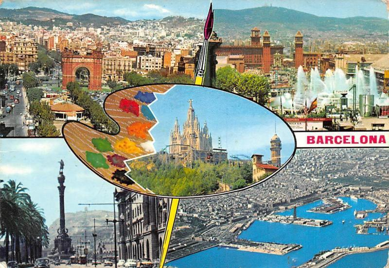 fc2f63009a3 Spain Barcelona Arco de Triunfo Tibladabo Colon Vista Puerto   HipPostcard