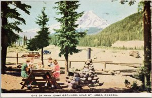 Mt Hood OR Picnic at Camp Ground Give Red Cross War Fund Cancel Postcard G75