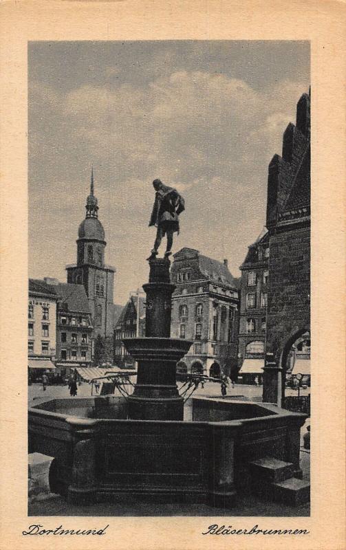 Dortmund Blaserbrunnen Statue Fountain Postcard