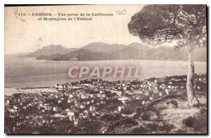 Postcard Old Cannes view from the California Mountains and the Esterel