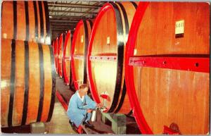 Ageing Aging Casks Pleasant Valley Wine Hammondsport NY Postcard Q24