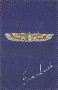 Lot223  good luck greetings postcard wings embossed uk fantasy