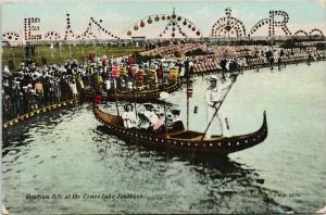 Venetian Fete at the Canoe Lake Southsea Portsmouth UK Postcard E52