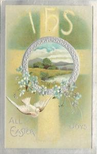 Easter~White Dove Flies~IHS~Light~Silver Portal Meadow~Forget-Me-Nots~Embossed