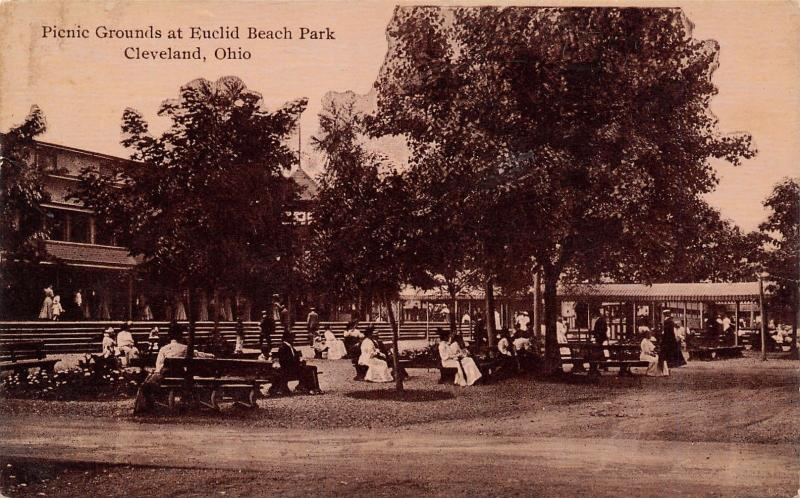 Cleveland OH Sepia Postcard~Euclid Beach Amusement Park Picnic Grounds~1914 PC