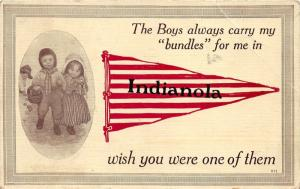 Indianola Iowa~Pennant~Dutch Boy Carrying Basket for Dutch Girl~1913 Postcard