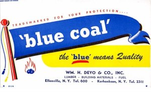 Blue Coal non postcard backing Kerhonkson, New York