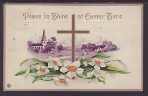 Peace Be Thine at Easter,Cross,Flowers Postcard