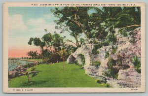 Miami Florida~Scene On Water Front Estate~Coral Reef Formation~Vintage Postcard
