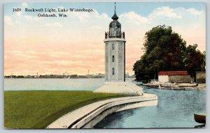 Oshkosh Wisconsin~Rockwell Lighthouse~Lake Winnebago~First Lit in 1910 Postcard