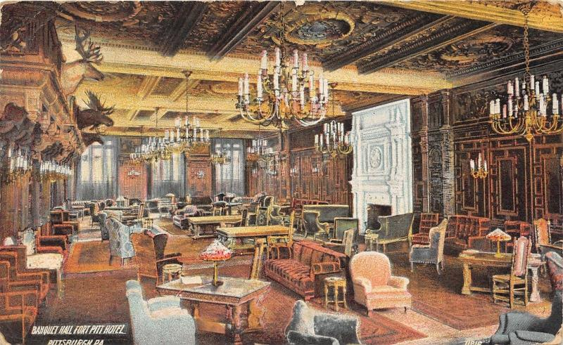 Superbe Pittsburgh Pennsylvania~Fort Pitt Hotel Banquet Hall~Vintage  Decor~Fireplace~u002710