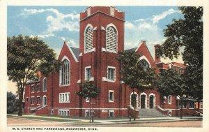 M.E. Church & Parsonage, Rochester, Minnesota c1920s Vintage Postcard