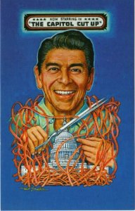 Artist Signed Postcard, Political Satire Ronald Reagan Capitol Cut Up, Strader