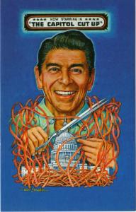 Artist Signed Postcard, Political Satire Ronald Reagan Capitol Cut Up, Strader
