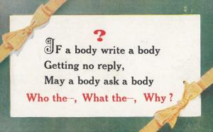 If You Write A Letter Body Getting No Reply WHY Proverb Motto Antique Postcard