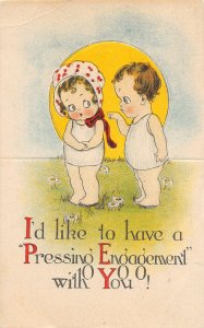 G19/ Interesting Postcard c1910 Die-Cut OPENS Engagement Kids Stand-Up
