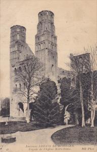 FRANCE, 1900-1910's; Ancienne Abbaye De Jumieges, Facade De L'Eglise Notre Dame