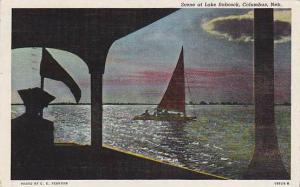 Sailing down Lake Babcock, Columbus, Nebraska, PU- 1950