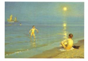 Postcard Art Young Boys on Skagen Beach by Peder Severin Kroyer (Denmark) #740