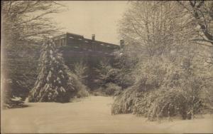 Haverhill MA Bldg in Winter c1910 Real Photo Postcard
