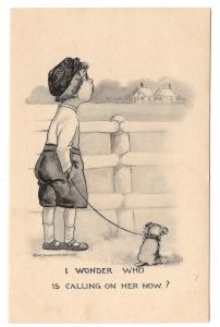 Boy and Dog I Wonder Who Is Calling On Her Now 1911 postcard