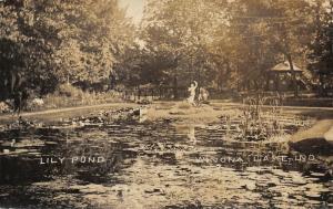 Winona Lake IN~Statue Fountain? @ Edge of Lily Pond~Swimming & Boating RPPC 1909