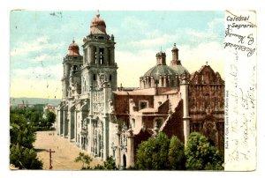 Mexico - Mexico City. Catholic Cathedral y Sagrario  (creases, corner damage)