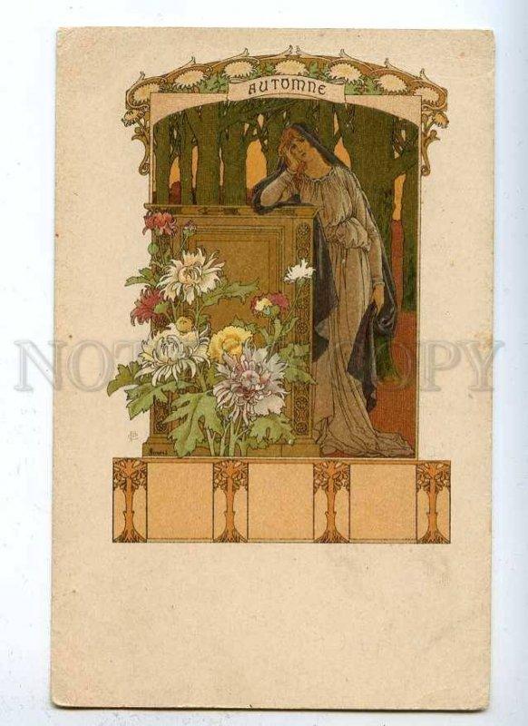 187738 ART NOUVEAU Autumn by SONREL Vintage PC