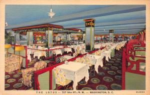 The Lotus Restaurant, Washington, D.C., Early Linen Postcard, Unused
