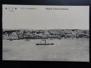 Portugal: LISBON Vista Panoramica of Harbour - Old Postcard