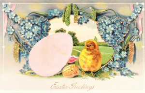Easter Greetings novel postcard embossed lots of gold glitter and a satin egg
