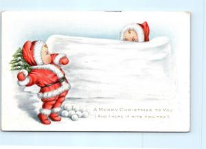 Postcard Merry Christmas Whitney Made Nimble Nick Throwing Snowball 1915 F20