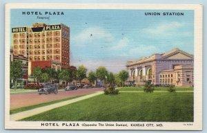 Postcard MO Kansas City Hotel Plaza Union Station Vintage Linen H22