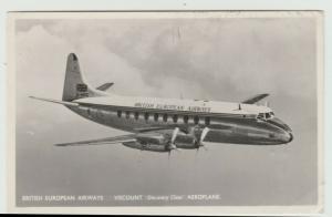 British European Airways Viscount Aircraft Postcard DISCOVERY CLASS RPPC 1953